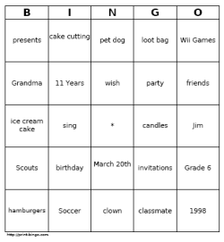 Random Sample Customizable Bingo Card